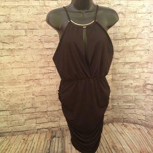 Black Halter deep v neck party dress ruched sides